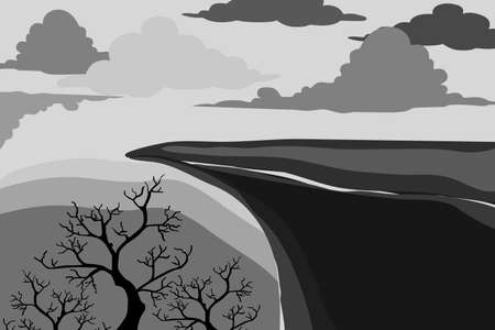 illustration of cliff tree and clouds, in gray tone. flat design vector.