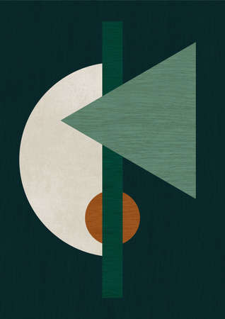 Abstract layout of triangle and circle shapes with wood and stone texture in dark green background. Modern scandinavian style artwork for print, poster, card and art product.