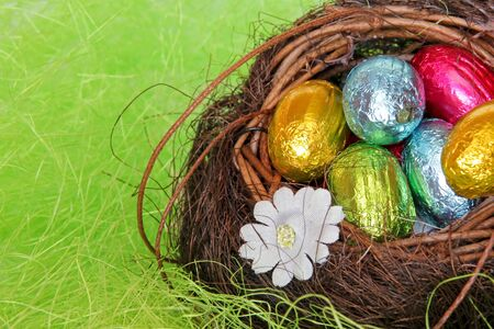 Chocolate eggs in the nest Stock Photo - 13201171