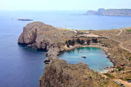 St. Pauls bay in Lindos city. Rhodes. Greece photo
