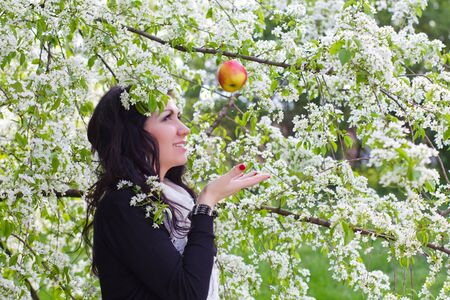 Young woman catching an apple against the backdrop of flowering trees photo