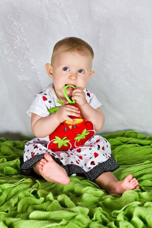 Baby girl in strawberry's dress with her toy rattle Stock Photo - 14937418