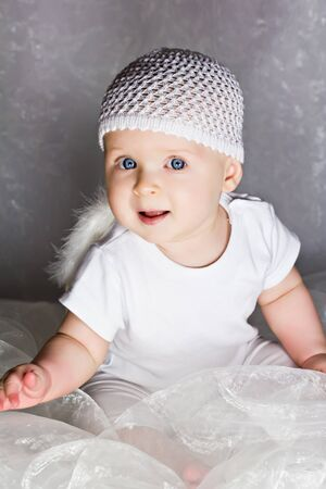 Sweet baby with blue eyes Stock Photo