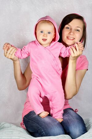 Picture of happy mother with baby girl photo