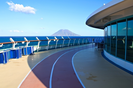 View at Stromboli volcano in Italy from cruise liner photo
