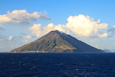 volcanos: Stromboli volcano island in the Mediterranean sea Sicily Italy Stock Photo