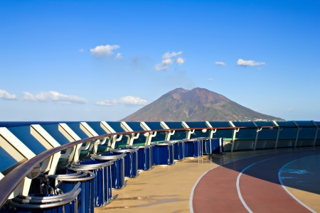 View at Stromboli volcano in Italy from cruise liner