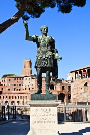 augustus: The statue of the first emperor of Rome, Augustus, located near his own Forum  Via del Fori Imperiali in Rome  Stock Photo