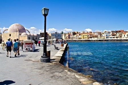 The town of Chania in Crete Greece with the old harbour and Janissaries
