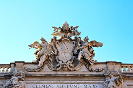 Detail of the building top of Fontana di Trevi, Rome, Italy photo