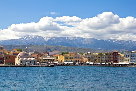 Old Venetian harbour in Chania  Crete, Greece photo