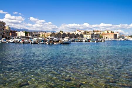 Old Venetian harbor in Chania  Crete, Greece Stock Photo