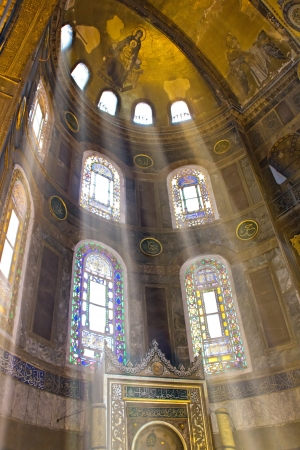 Interior view of Hagia Sophia Museum in Istanbul - godlike light Editorial