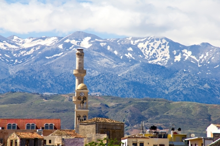 Mosque and mountains in Chania, Crete