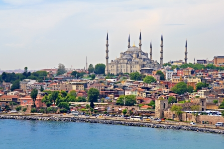 blue mosque: Blue Mosque and Istanbul, view from Bosporus strait Stock Photo