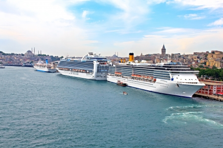Cruise ships in the port of Istanbul, Turkey