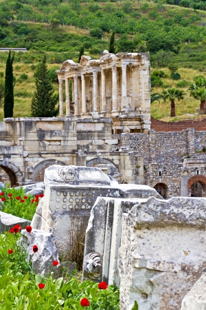 Ruins of the ancient town Ephesus in Turkey Stock Photo