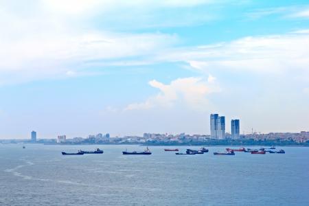 Many cargo ships at Istanbul, Turkey photo