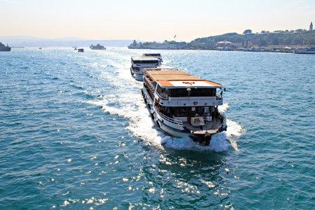 seaway: Passenger ferries in Bosporus Strait, Istanbul Editorial