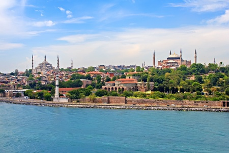 Blue Mosque, Hagia Sophia and Istanbul - view from Bosporus strait photo