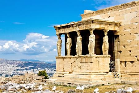 caryatids: The Erechtheum porch with the Caryatids, Acropolis, Athens, Greece
