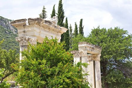 Ruins of columns in ancient city of Ephesus, Turkey photo