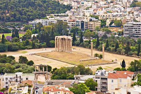 Temple of the Olympian Zeus at Athens, Greece, view from Acropolis photo