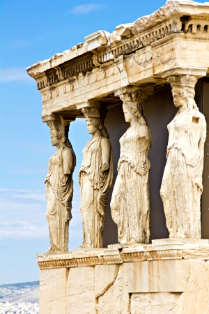 caryatids: Erechtheum porch with the Caryatids statues, Athens, Greece