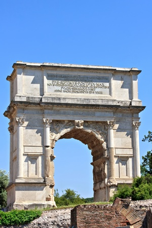 Arch of Titus, the ruins of Roman forum, Rome, Italy