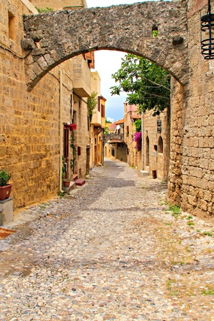 Life in old street in Rhodes town Stock Photo