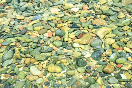 Rocks and pebbles under the surface of water photo