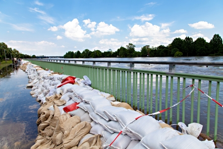Flooding in Magdeburg, Germany, June 2013. Sandbags protect against the water Editorial