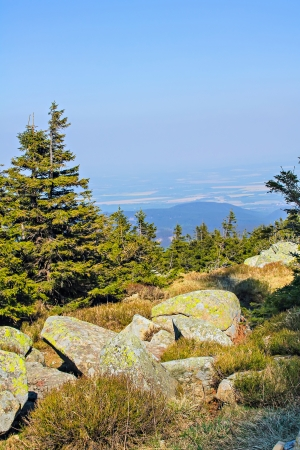 View from the summit of the Brocken in national park Harz, Germany