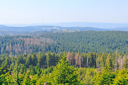 View from the summit of the Brocken on forests and mountains in the Harz National Park Stock Photo