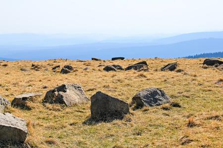 brocken: View of stone landscape on the mountain Brocken in national park Harz, Germany Stock Photo
