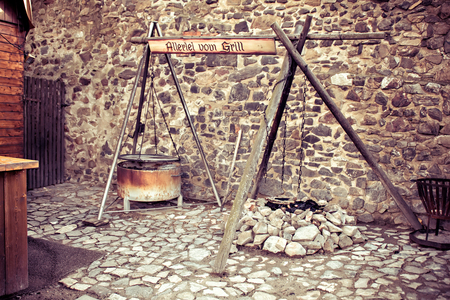 Traditional medieval campfire cooking on open fire Stock Photo - 22282650