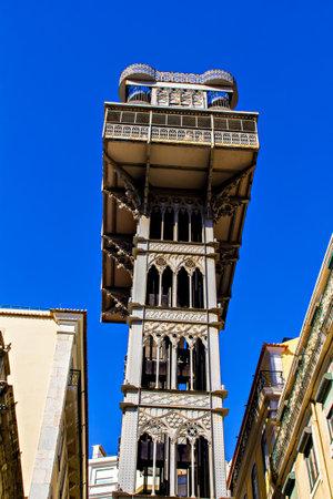 justa: Santa Justa lift, Baixa, Lisbon, Portugal Editorial
