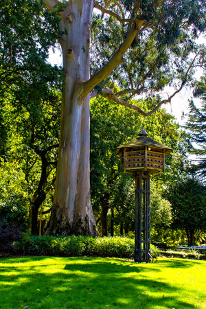 Wooden dovecote in summer park, Spain photo
