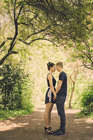 Romantic date in park in sunny day photo