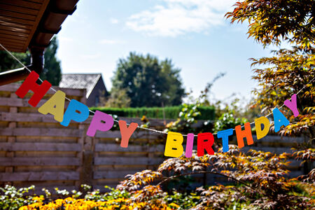 rejoicing: Words Happy Birthday by separate colored letters