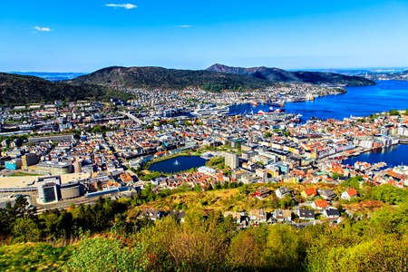 View on Bergen and harbor from the mountain top photo