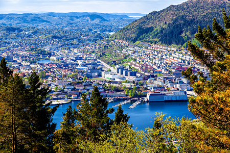 View on Bergen and lake from the mountain top photo