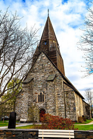 The medieval stone church at Voss, Norway photo