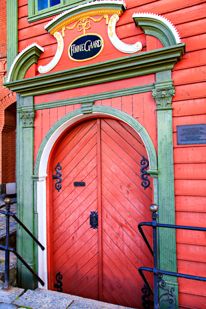 The red doors in old wood house