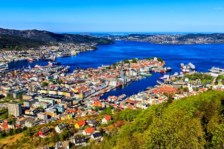 View on Bergen and harbor from the mountain top Stock Photo
