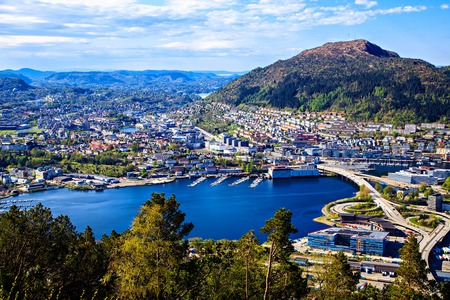 Center, park and lake in Bergen, Norway photo