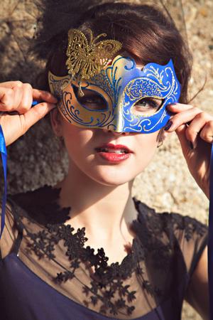 petticoat: Beautiful brunette with venetian mask