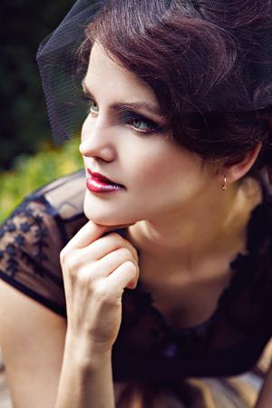 petticoat: Portrait of pretty brunette in veil, Harz, Germany