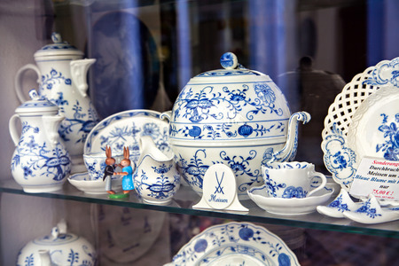 Famous trademark Meissen porcelain dining services Stock Photo