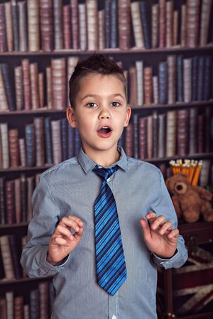 diligent: Diligent boy, first-grader sings, singing lesson Stock Photo